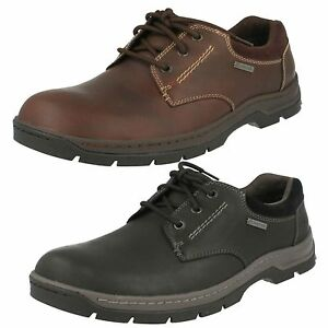 purchase genuine harmonious colors incredible prices Details about Mens Clarks Stanten Walk GTX Black Or Mahogany Leather Lace  Up Waterproof Shoes