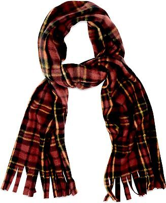 Soft and Cosy Fleece Scarves with Tassles Brown Tartan Check Scarf