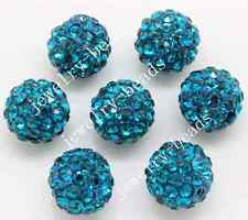 15pcs 10mm Blue Czech Crystal Rhinestone Pave Clay Round Disco Ball Spacer Bead