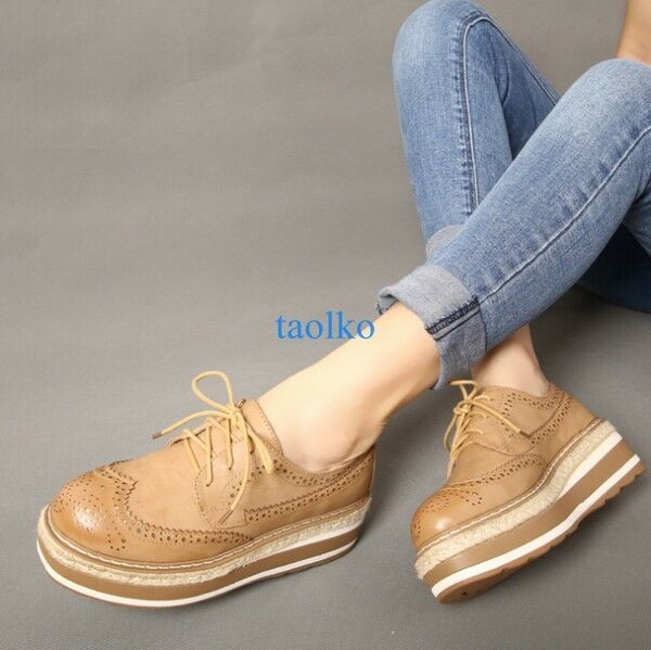 British Retro Women's Brogue Lace Up Wing Tip Carved Platform Breathable shoes