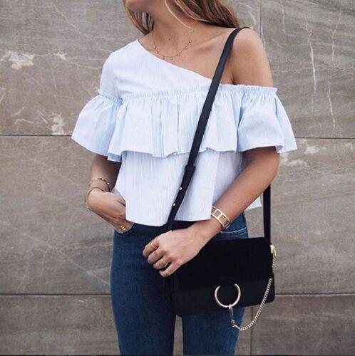 Zara Size Striped L Shoulder Bloggers 2311 Ref Fav Top Off Asymmetrisk 522 rr1qXp