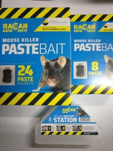 RACAN rapide Souris Poison Tueur Appât 8 x Pâte Sachets Max Strength Souris Pest