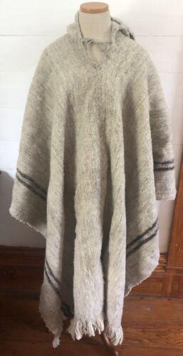 Vintage Alpaca Blanket Poncho/Cape With Hood Heavy