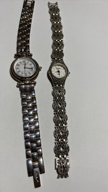TWO .925 Sterling Silver Watches Ecclissi And Lucero  Bracelet Watches 94 Grams