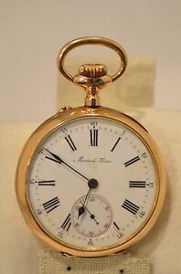 SC-Mermord-Freres-Repeater-Pocket-watch-14K-Gold-1900-039-s-50MM-Very-rare