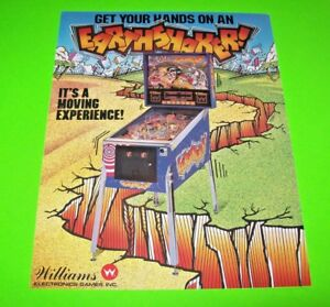 Earthshaker-Pinball-FLYER-Original-NOS-Williams-1989-Promo-Game-Artwork-Sheet