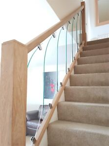 Details About Glass StairCase Panels   For Rake And Landing   Glass  StairParts