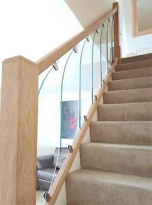 Glass Staircase Panels For Rake And Landing Glass Stairparts Ebay