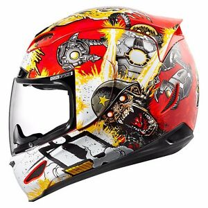 NEW-ICON-MONKEY-BUSINESS-RED-MOTORCYCLE-HELMET-ALL-SIZE-STUNT-STREET-SPORT