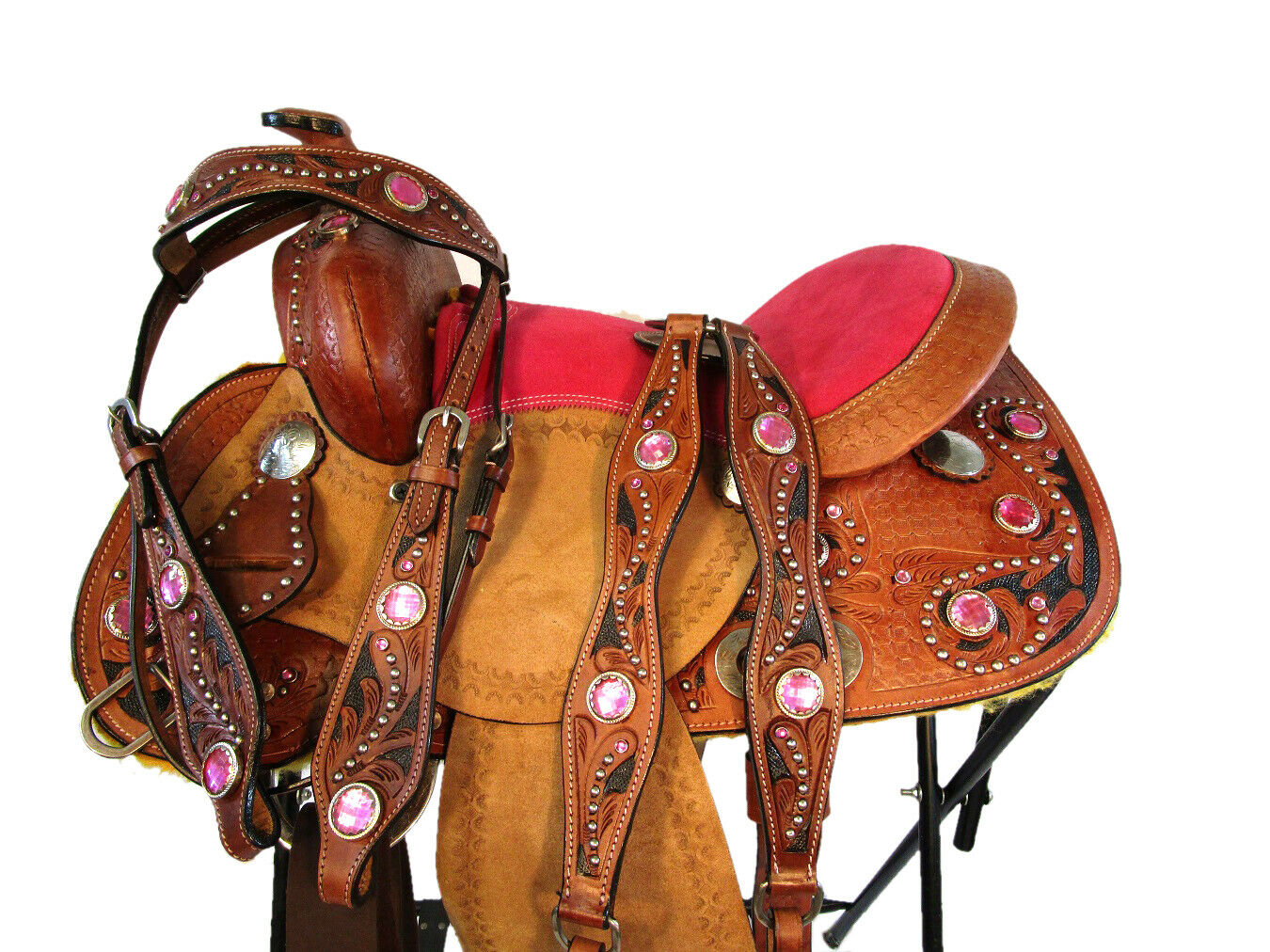 YOUTH WESTERN SADDLE PLEASURE mostrare BARREL RACING TACK LEATHER TRAIL SET 12 13
