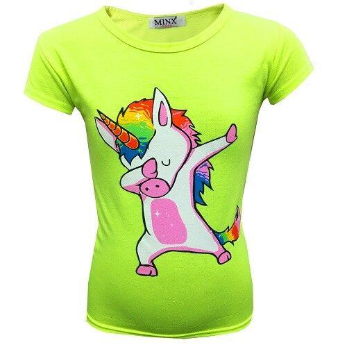 Neuf Filles Licorne DAB Haut T-Shirt Rose Camouflage Noir Âge 7 8 9 10 11 12 13