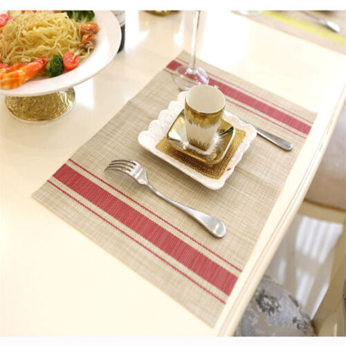 Dining Table Mat Double Stripe Heat Resistant Placemats Insulation Nordic Style