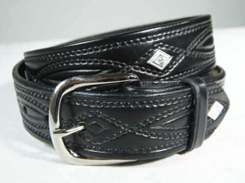 WESTERN Black or Brown LEATHER DIAMOND CONCHO Belt 670C
