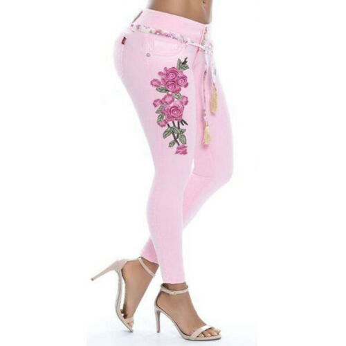 Damen Boho Blumen Stickerei Skinny Jeggings Denim Jeans Casual Stretch Röhrehose