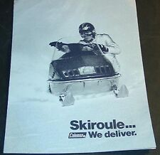 RARE VINTAGE SKIROULE SNOWMOBILE SALES BROCHURE 8 PAGES POSTER SIZE   (537)