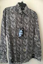 JOHN LENNON Button Dress Shirt Blue Pattern  size S NWT