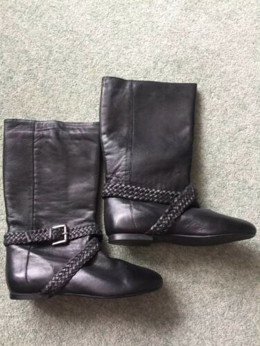 Leather 38 Black Office Size Calf 5 Pull On Bnib Boots PUTxqBw