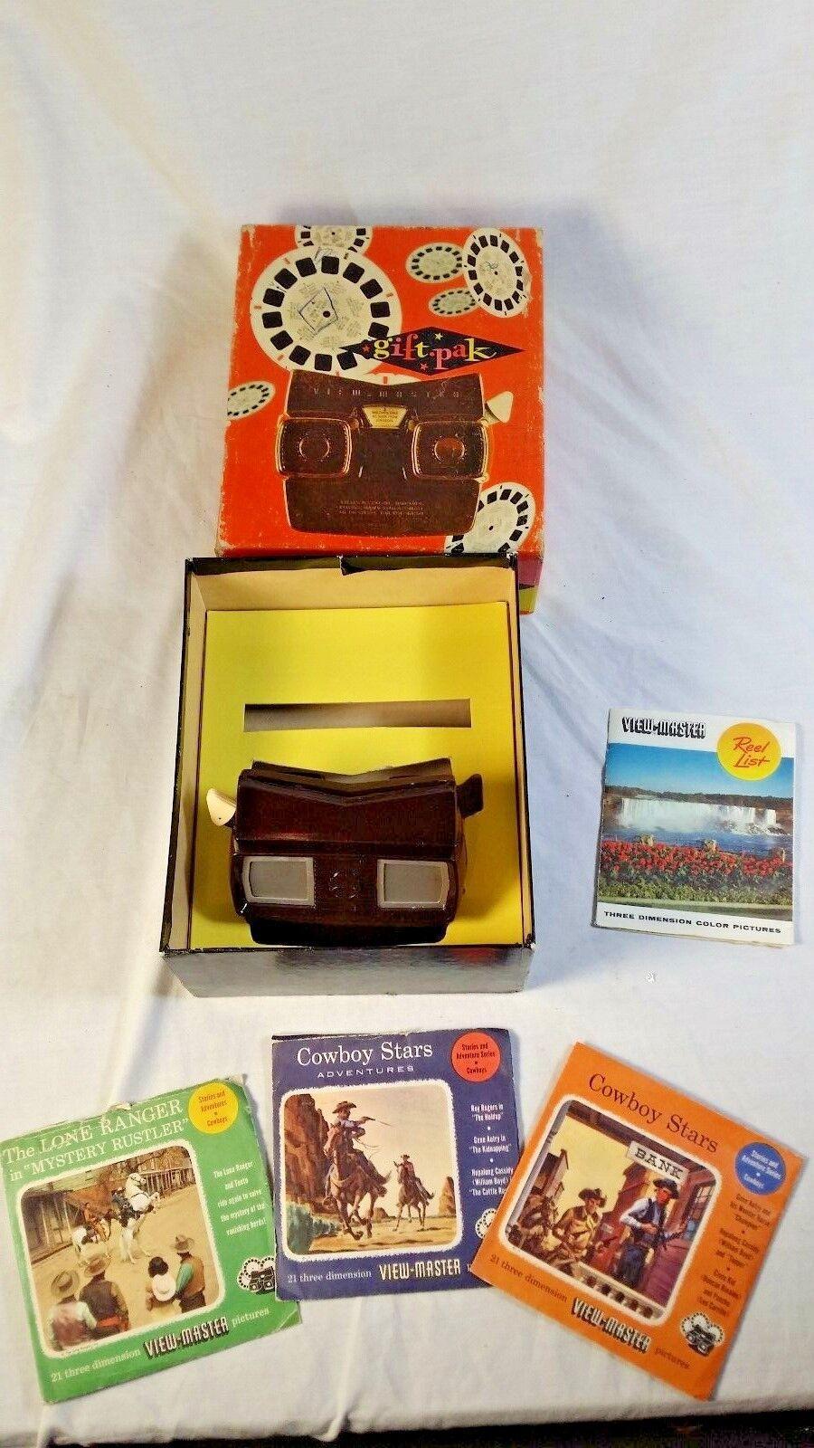Vintage Sawyer's View-Master Gift Pak in Box w  Lone Ranger & Cowboy Stars Reels