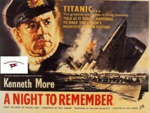 "RMS TITANIC ""A NIGHT TO REMEMBER"" MINI 1958 MOVIE POSTER REPRINT 8.5 X 11"