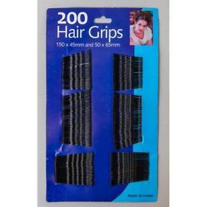 Confezione da 200 Spilli Per Capelli Grip Ondulato Bobby piedini capelli neri Kirby Grips 200pk-Regno Unito