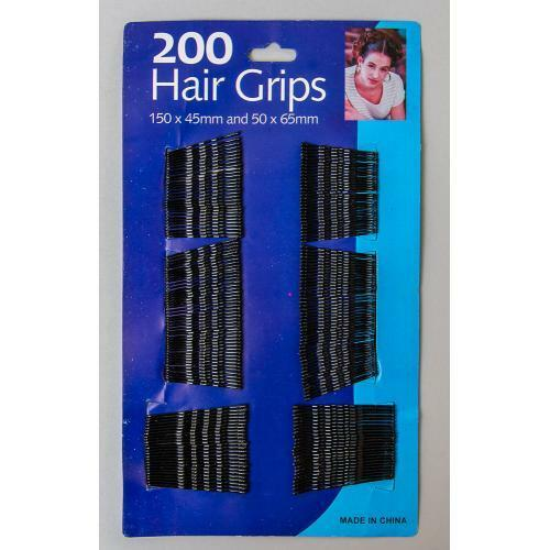 200 Pack Hair Pins Grips Waved Bobby Pins Black Kirby Hair Grips 200pk UK
