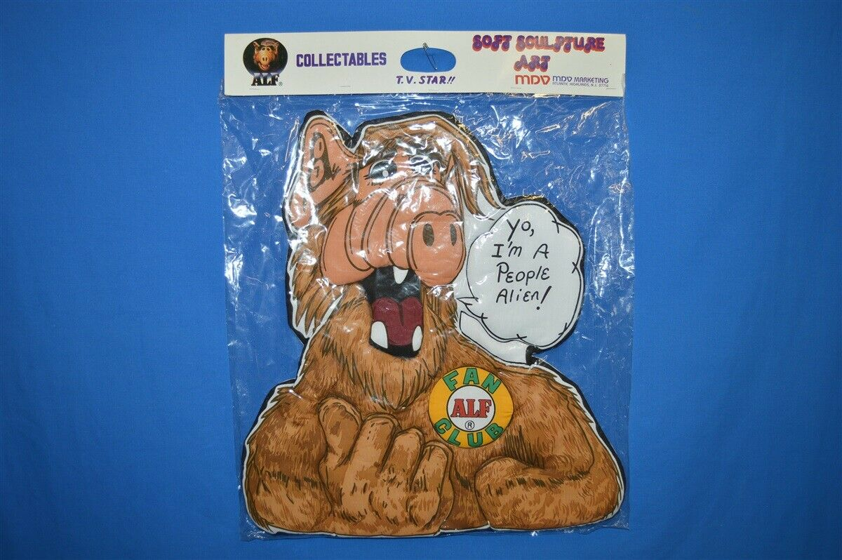 ALF TV SHOW COLLECTABLES SOFT SCULPTURE I'M A PEOPLE ALIEN ART WALL HANGING NIP