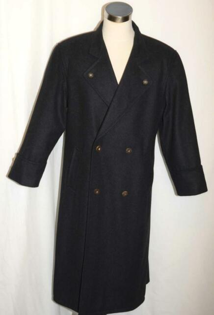 dc2dabe02a7 BLACK Men WOOL CASHMERE German Winter WARM SOFT Western Pea LONG Over Coat  47