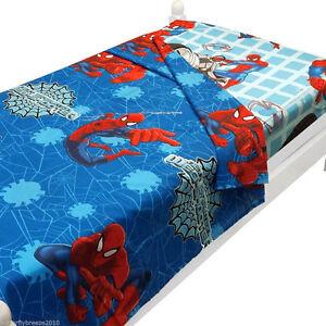 Marvel-Heroe-Spiderman-Bedding-Kids-Boys-Blue-Bedroom-Bed-2pc-Twin-Sheets-Set