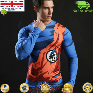 Mens-long-sleeve-compression-gym-superhero-avengers-marvel-muscle-Dragon-Ball