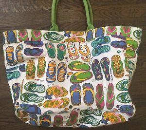 Details About Celli Straworld Inc Artist Drawn Flip Flop Beach Tote Nicole Rubel Vintage