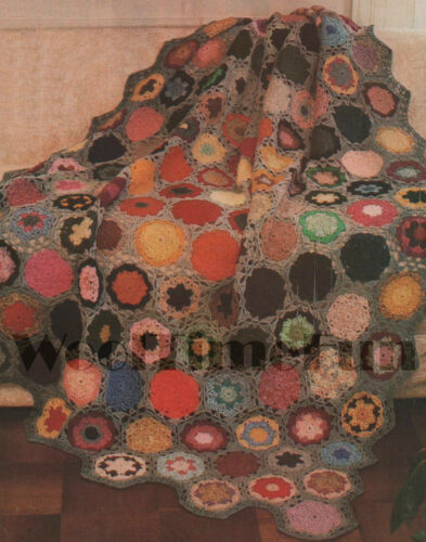 "58/"" x 75/"" Crochet Pattern Vintage Hexagon Flower Afghan//Blanket//Shawl//Throw"