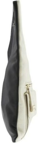 Foley Corinna Color Block clutch White Black purse pebbled leather unfolds tote