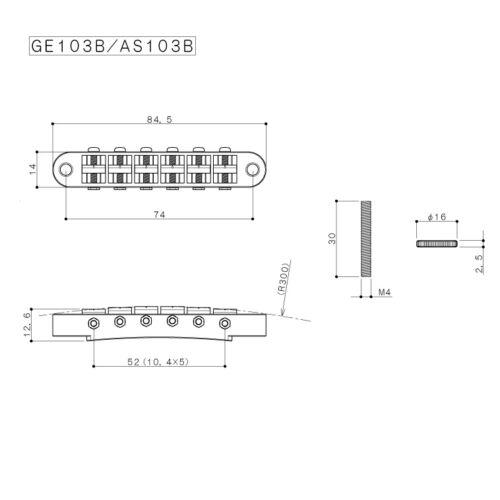 COSMO BLACK Gotoh GE103B Nashville Tune-O-Matic Guitar Bridge Tunematic NEW