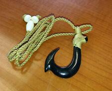 Hawaiian Black Bufflao Bone Hand Carved Men Fish Hook Fashion Necklace/Chocker