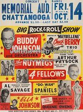 """Chuck Berry / Buddy Johnson Chattanooga 16"""" x 12"""" Photo Repro Concert Poster"""