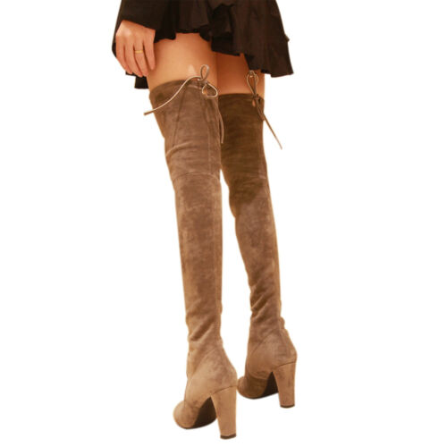 Kaitlyn Pan Microsuede High Heel  Slim Fit Over The Knee Thigh High Boots
