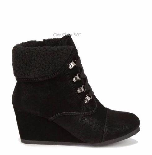 Women High Heel Wedge Booties Cuffed Ankle Lace Up Combat Fleece Winter Boots