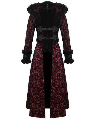 RQ-BL Womens Coat Long Hooded Jacket Red Black Velvet Gothic VTG Regency