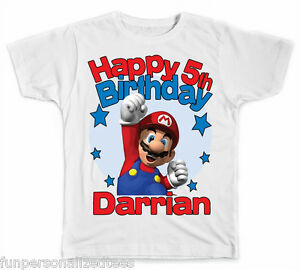 Romantique Personalized Super Mario Brothers Birthday T-shirt