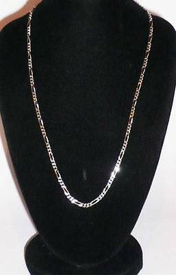 "STUNNIN STERLING SILVER  18"" FINE CURB FIGARO NECKLACE CHAIN CHOKER JEWELLERY"