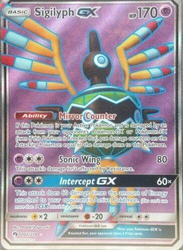 Sigilyph GX Full Art Near Comme neuf perdu Thunder 202//214 POKEMON TRADING CARD GAME