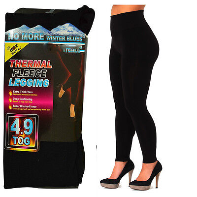LADIES WOMEN THERMAL LEGGINGS FLEECE LINED WINTER THICK BLACK 0.5 TOG S-L