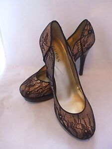 guess gold lame leather black lace round toe platform