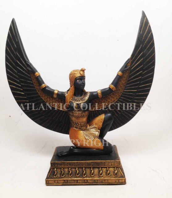ANCIENT EGYPTIAN GODDESS ISIS TABLE MIRROR STATUE FINE RESIN DECOR