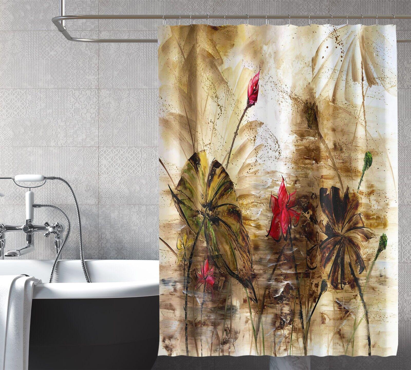 3D Rouge Lotus 421 Rideau de Douche Imperméable Fibre Salle de Bain Home Windows Toilette