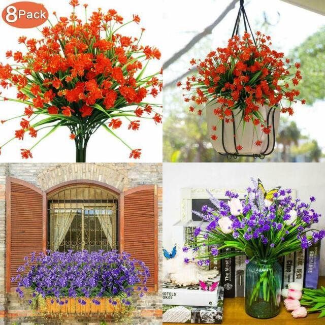 4 Bundles Outdoor UV Resistant Greenery Shrubs Red Artificial Fake Flowers