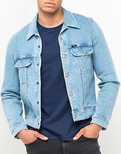 Mens New Denim Jean Jacket Vintage Biker Coat Retro Washed Blue Collared Light