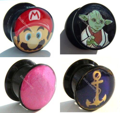 Gold Anchor Ear Tunnel Plug 6mm to 25mm Yoda Plain Pink Acrylic Screw Mario