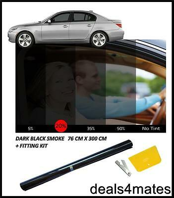 Franco Auto Casa Window Tint Film Colorazione Nero Fumo Scuro 20% 76cm X 3m Kit Fai Da Te-
