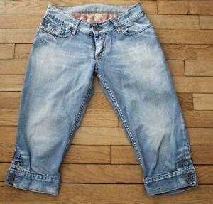 KAPORAL-5-Pantacourt-en-Jeans-Femme-W-28-Taille-Fr-36-COPA-Ref-V153